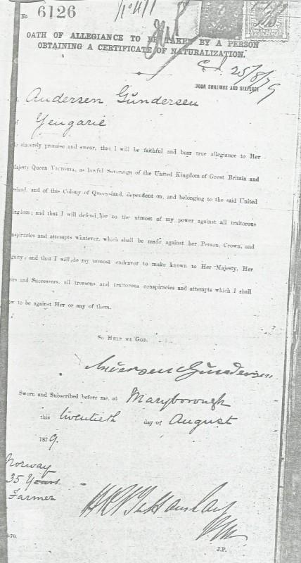 Naturalization certificate Anders Gunderson 1879