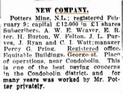Notice of new company in The Leader 15 Feb 1915