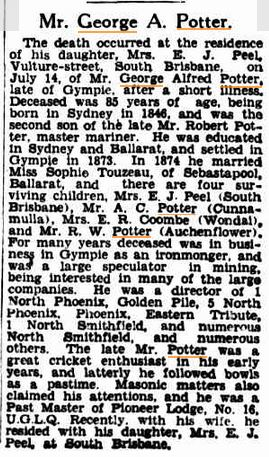 Obituary George Potter, Brisbane Courier