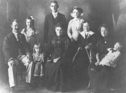 Herbert William White on the far left with his family ca 1912