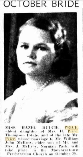 Hazel Price 1938 pre wedding notice via Trove