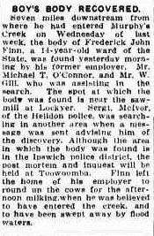 Trove Tuesday – Frederick John Finn, a sad victim of Murphy's Creek