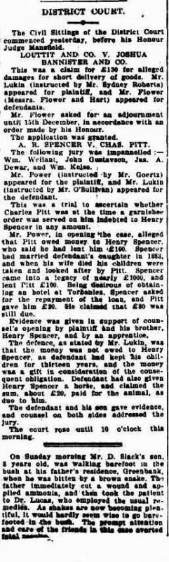 Brisbane Courier 27 Nov 1902 Spencer v Pitt District Court