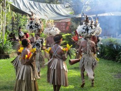 PNG dancers, Alotau author photo