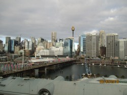 The view from the hotel window overlooking Darling Harbour, Sydney