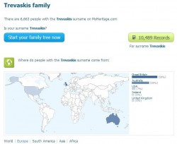 Trevaskis name survey in MyHeritage Aug 2014