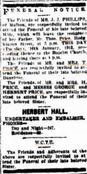Clara Phillips nee Price funeral notice 1912