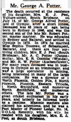 Obituary for George Potter via Trove