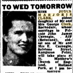 Wedding notice Clark Carnegie 1943