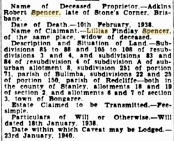 Transmission by death notice, Courier Mail, 18 Dec 1939