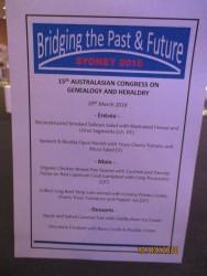 Congress dinner menu