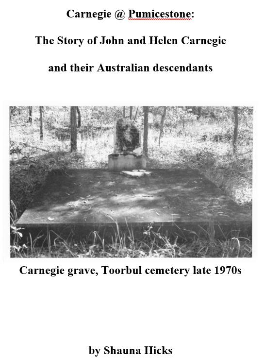Draft cover of Carnegie @ Pumicestone, my Scottish ancestors' story